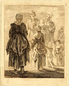 Figure studies; a girl in rustic dress with a basket on her arm, standing next to a woman, their backs to the viewer, greeting a man and a woman who carries a child with two toddlers at her skirts, lit by the sunlight slanting from left. Etching printed in brown ink