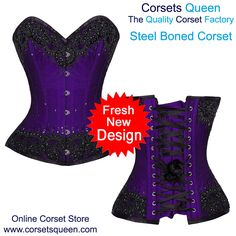 Purple Fancy Corset Dress, New Fresh Design, Millie Overbust Corset With Lace Overlay