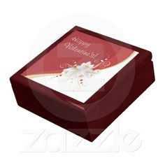 White Lilies on Red Swirl Valentine's gift boxes