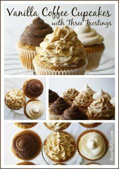 Vanilla Coffee Cupcakes with Three Frostings (Creamy Brown Sugar Coffee Chocolate Coffee)