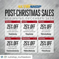#Repost @nutrishop_murfreesboro with @repostapp.  Starting today and running though the end of the year we will be having daily post Christmas sales! Check you calendar stock up and save some money! #nutrishopmurfreesboro #teamnutrishop #nutrishop #fitness #fitfam #workout #health #gym #getfit #dedication #motivation #determination #inspiration #lifestyle #bodybuilding #physique #figure #crossfit #diet #exercise #guyswholift #mtsu #tennessee  #physique #mensphysique by armyfitzak