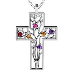3 - 10 Stone Family Tree Cross Pendant #jewlr