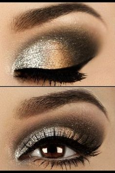 Brown and silver grey eye look