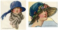 """From 1923 Nacre Feather Trim Hat Price: $4.89  Description """"Nacre"""" feather trims are the rage in New York. Choose from bright blue with shaded blue and orchid feathers, oakwood, pearl gray, or navy blue.  Fancy Dress Hat Price: $6.45  Description Perfectly gorgeous and our best large brim fancy dress hat. Stylish six-pieced crown of fine silk faced velvet. High grade wreath of mixed colored fiber silk plush novelty morning glories"""