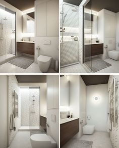 In this modern bathroom, there's a wide sink with storage below and a mirror was is lit with with hidden illumination above and below. In the shower, built-in shelves have been installed with more hidden lighting along the wall. #ModernBathroom #HiddenLighting