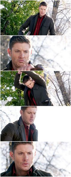 [gifset] 10x10 The Hunter Games #SPN #Dean. All I can think about when I see this is that gif from tumblr *aggressively chops wood*