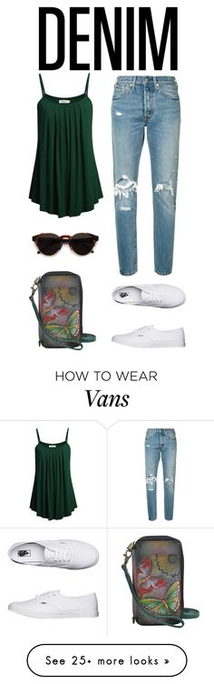 """""""Distressed Denim"""" by shannon415 on Polyvore featuring Levi's, Vans, RetroSuperFuture and Anuschka"""