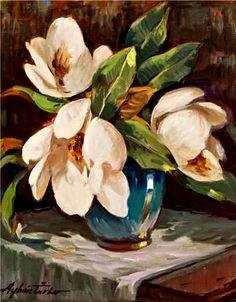 Magnolias by Turkish Painter Ayhan Türker Arte Floral, Art Sketches, Flower Art, Landscape Paintings, Flower Power, Beautiful Flowers, Cool Art, My Arts, Watercolor