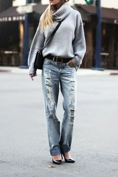 Dressed up boyfriend jeans.