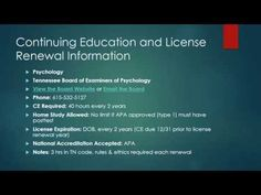 Tennessee Psychologists Continuing Education and License Renewals - YouTube
