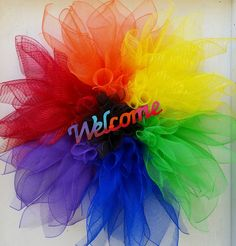 Welcome Rainbow Pride Flower Wreath Home office Decor Flower wreath Love Pride Gay Pride Rainbow flower 33in wreath by SouthernHeartWreaths on Etsy