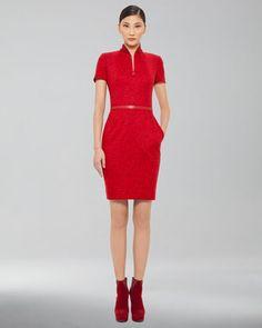 Wool Jacquard Zip-Front Dress by Akris at Bergdorf Goodman.