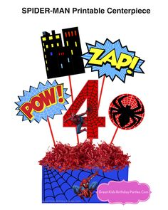 Spider-Man Printable Centerpiece. Great for photo booth props and party decorations.