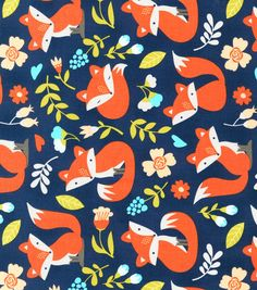 Novelty Cotton Fabric Foxes On Blue