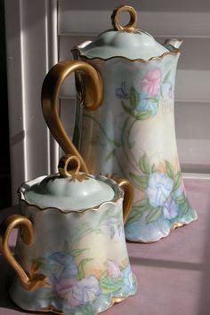 Porcelain Tea Pot w/ Matching Sugar Bowl- Hand Painted