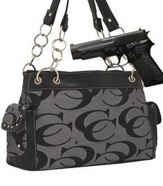 Hot   Trendy  Gray Fashion Signature Conceal and Carry Purse Concealed  Carry Handbags 5d4a9568634ec