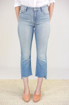 Mother Jeans The Insider Crop Step Fray in Shake Well Mother Denim, Mom Jeans, Casual, Model, Cotton, Pants, How To Wear, Style, Fashion