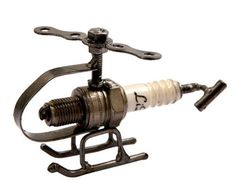 Hand Crafted Recycled Metal Spark Plug Helicopter Art Sculpture Figurine | Collectibles, Decorative Collectibles, Figurines | eBay! #collectiblefigurines