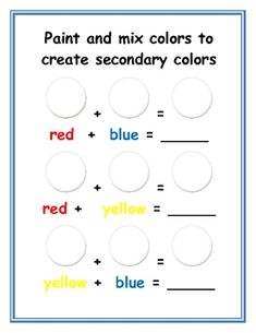 color mixing worksheet email me for pdf education pinterest 2 loops and belt. Black Bedroom Furniture Sets. Home Design Ideas