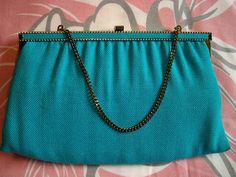 Vintage 1960s Harry Levine Turquoise Blue Cloth Purse Clutch Bag by BlackRain4, $29.99
