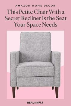 This Petite Chair With a Secret Recliner Is the Accent Seat Your Space Needs | Who would've guessed that a sophisticated and sleek recliner from Amazon could halt the search for that perfect accent chair? Fill the bare corner with one or two of these top-rated Amazon reclining chairs for the perfect finishing touches in a mid-century modern room. #decorideas #homedecor #decorinspiration #realsimple #smallspaceideas #apartmentideas Modern Room, Mid-century Modern, Small Recliners, Modern Recliner, Amazon Home Decor, Real Simple, Top Rated, Living Room Decor, Accent Chairs