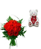 12 Red Roses Bunch with a small teddy bear, Midnight Delivery