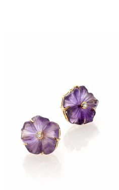18K Yellow Gold Amethyst And Diamond Earrings by Bahina for Preorder on Moda Operandi