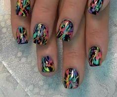 DIY Nails Art :DIY Neon Nails Art : DIY Nail Art: Rainbow Neon Splatter Paint