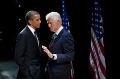 President Barack Obama talks with former President Bill Clinton backstage at the New Amsterdam Theater in NY, NY 6/4/12