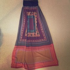 Midi skirt Multi-color pattern, black roll over option stretchy waistband, rayon sheer material skirt Anthropologie Skirts Midi
