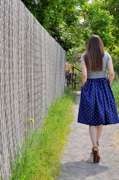 C&C: Nautical week: Very gathered A-line skirt with elastic and anchor print