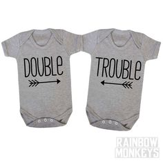 Double Trouble Matching Onesies T-Shirts, Sibling shirts, matching siblings Best Friends Twins, Todders Kid Life Baby Life Funny Shirts