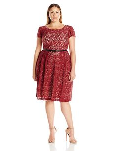 0257ca00dd3a Women's Plus Size Cap Sleeve Swing Dress in Red and Nude. Also comes in  black