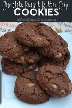 Chocolate Peanut Butter Chip Cookies - A Few Shortcuts Peanut Butter Chip Cookies, Chocolate Peanut Butter, Chocolate Desserts, Cookie Desserts, Cookie Recipes, Dessert Recipes, Freezable Cookie Dough, Freezer Cookies, Cherry Candy