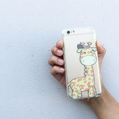 "Clear Plastic Case Cover for iPhone 6 (4.7"") Cute Giraffe"