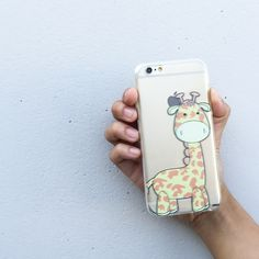 "Clear Plastic Case Cover for iPhone 6 (4.7"") Cute Giraffe"