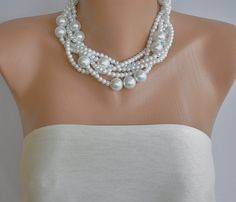 Chunky Layered White Glass Pearl Necklace  brides  by kirevi8, $85.00