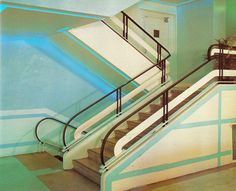 Staircase, The Kenmore, Miami Beach, FloridaFrom Tropical Deco  Streamline staircase. The paint job is key.  From the book:    Kenmore - 1050 Washington Avenue    Here it is on Google Street View.