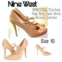 Nine West Msknoitall Platform Pump Mary Jane Heels Natural Leather. No Issues. Mary Jane Heels, Platform High Heels, Nine West Shoes, Ankle Straps, Natural Leather, Character Shoes, Peep Toe, Dance Shoes, Footwear