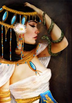 "Items similar to ACEO/ATC Mini Fine Art Print -""Cleopatra and the Serpent""- Artist Trading Card - Queen of the Nile River - Egyptian Legend on Etsy Egyptian Queen, Egyptian Goddess, Egyptian Art, Egyptian Things, Goddess Art, Egyptian Beauty, Egyptian Mythology, Queen Cleopatra, Cleopatra Makeup"