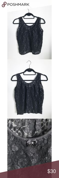🌟 Lace Floral Tank 🌟 New without tags. Scoop neck. Small bow with gem in center featured on front. Sheer black floral design. Fabric is stretchy. Includes elastic hems. Tags located on left inside waist. Slight crop top. Fits loosely. Made in Honduras.  L: 19.5 in W: 17.5 in  100% Cotton Machine Wash Cold/ Gentle Line Dry   All clothing shipped pre-ironed/ washed/ lint-rolled. All items comes from a smoke-free & pet-free home. Each package will receive a personalized & custom thank you…
