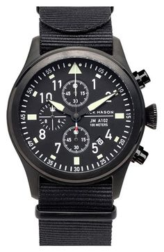 Jack Mason Brand 'Aviation' Chronograph NATO Strap Watch 42mm available at #Nordstrom