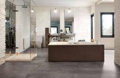 Bathroom concept idea. Elapse Oyster tile from Ceramiche Caesar.