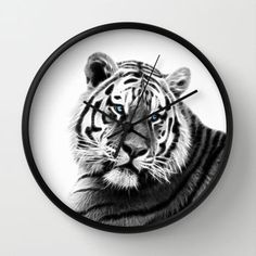 Black and white fractal tiger Wall Clock by Laureenr
