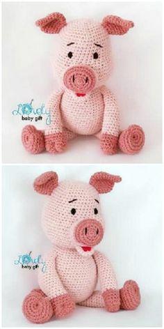 Crochet Pig Pattern - Lots Of Cute Ideas Crochet Pig, Crochet Animal Amigurumi, Crochet Pillow, Cute Crochet, Amigurumi Patterns, Crochet Toys, Crochet Patterns, Crochet Ideas, Knitting Patterns