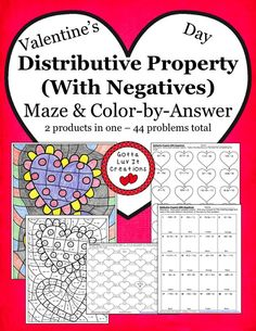 Valentine's Day Distributive Property (with negatives) ~ 2 products in one! Valentine's Day Maze & Valentine's Day Color-by-Answer 44 problems total.  Visit Gotta Luv It Creations