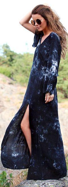 Hippie Chick ☮ Blu Moon Blue Acid Wash V-neck Thigh Split Maxi Dress
