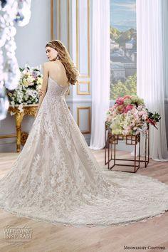 moonlight couture spring 2016 wedding dresses stunning a-line gown strapless sweetheart neckline lace emrbroidered chapel train h1296 back #alineweddingdress #weddingdress