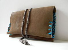 Tobacco Pouch  Genuine Leather  Brown With Blue  by polykatoikia, $27.00