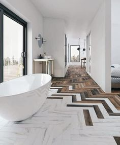 Elegant floor design Floor tiles in stone and wood laid as herringbone . - Elegant floor design Floor tiles in stone and wood laid as herringbone – interior design on Insta - Modern White Bathroom, Modern Bathroom Design, Beautiful Bathrooms, Neutral Bathroom, Small Bathroom, Bath Design, Modern Bathrooms, Luxury Bathrooms, Minimalist Bathroom